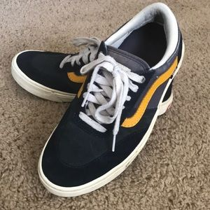 Vans Suede/Canvas Blue with yellow stripe